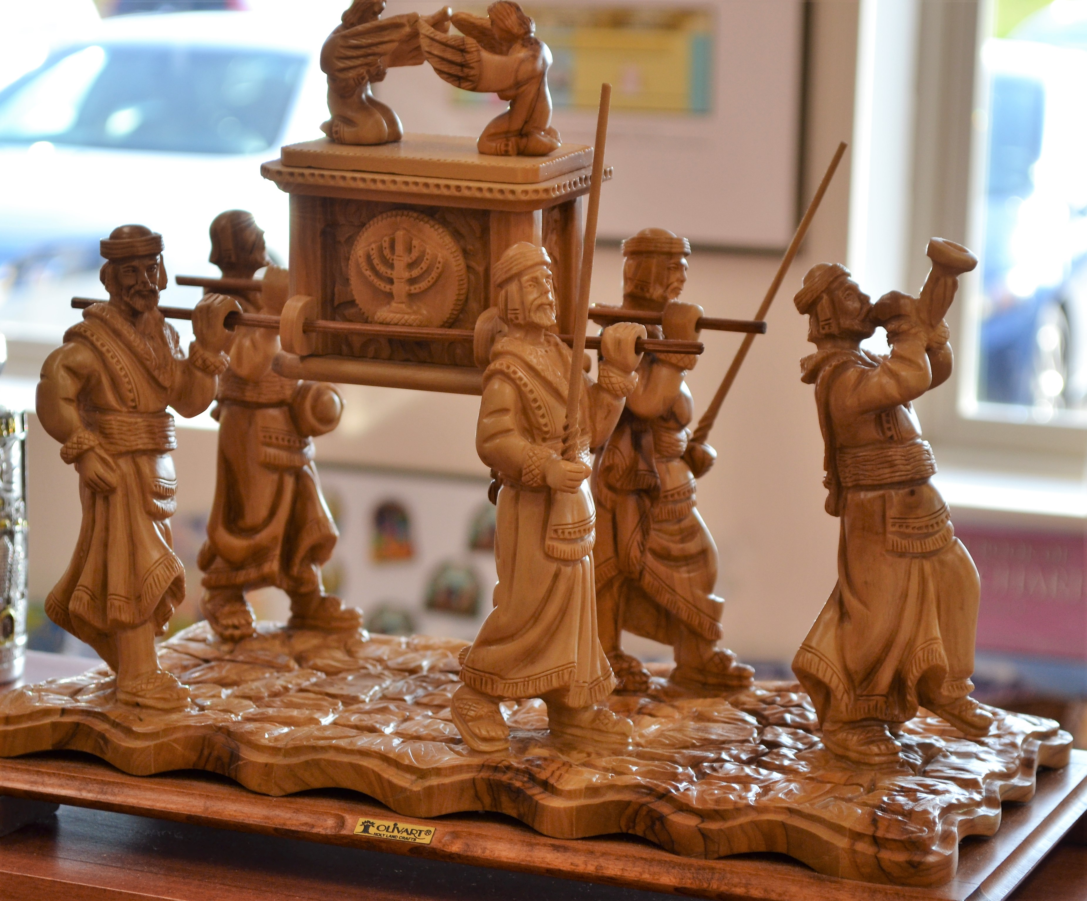 Ark Of The Covenant Large Olive Wood Carving Jewish